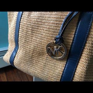 Michael Kors bag navy Blue and straw